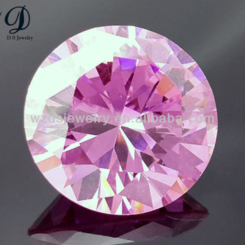 Top quality Round pink brilliant cut synthetic diamond cubic zirconia gemstone