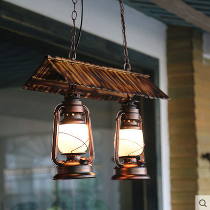 Bamboo Roof Modern Oil Pendant Lamp With Frosted Glass Shade E27