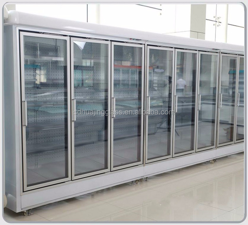 Western Style Commercial Aluminum Upright Freezer with Double Glass Door OEM Shandong factory