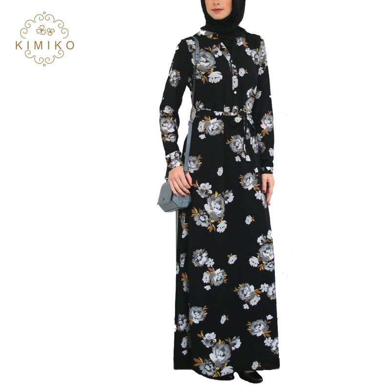 Full Floral Islamic Women Clothing Newest Button Down Maxi Dress Printed Muslim Lady Abaya