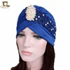 Women Luxury Pearled Flower Turban Muslim Headscarf Women Jewellery Head Wrap Bonnet Hijab For Lady TJM-24J
