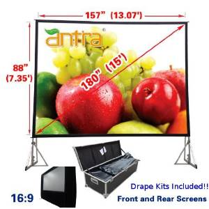 """Antra 16:9 Fast Fold Projector Projection Screen with Front & Rear Projection Material on Heavy Duty Frame w/ Carry Case (180"""" Diagonal / 13.1' X 7.4') with Drape Kits"""