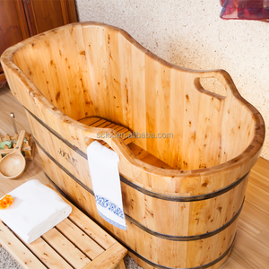 KX natural wood portable whirlpool for bathtub wooden barrel bath tub