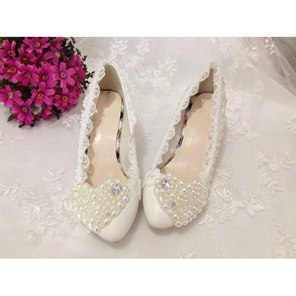 KAKA(TM)Women's Flowers Rhinestone White Stiletto Heel Lace Wedding Bridal Shoes(39)