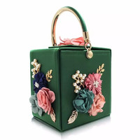European fashion hot elegant barrel shape square geometric flower embellished leather evening clutches handbag