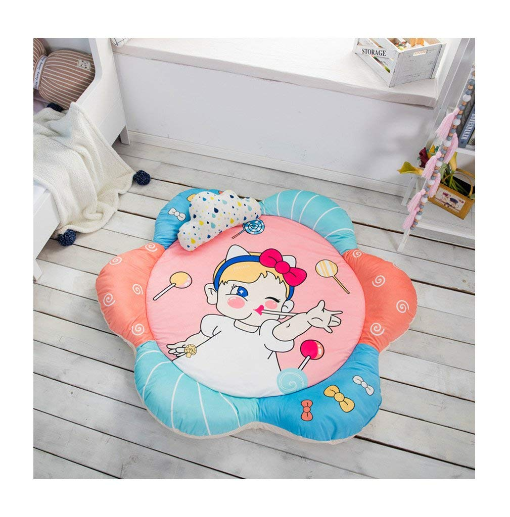 Soft Fenced Round Rug Cotton Baby Play Mat Round Rugs Sunflower Petals Carpet Play Mat Extra-Thick Round Mat Kids Room Decoration 54.6 in (lollipop)