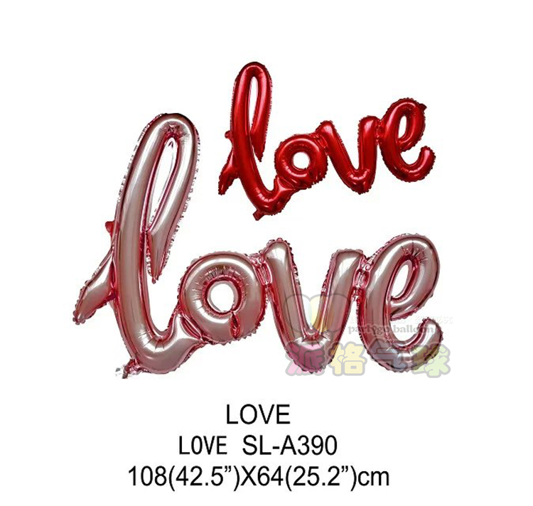 Large 108*65cm romantic wedding decor connected letter love foil balloon