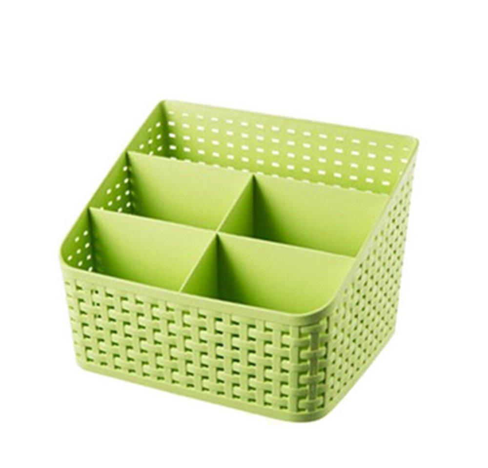 Imitation rattan multi-compartment storage box cosmetics, desktop remote control debris classification storage box