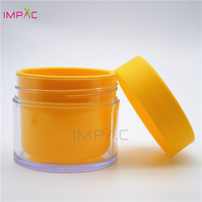 Body butter plastic double wall yellow wide mouth cream jar 300ml