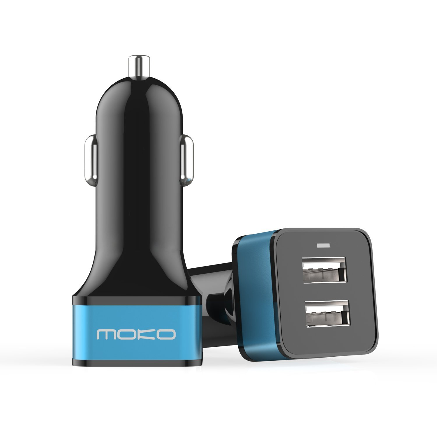 """MoKo 2-Port USB Car Charger, 24W / 4.8A with Smart Charging Technology for iPhone X / 8 / 8 Plus / 7 / 7 Plus / 6s / 6s Plus, iPad Pro 9.7""""/ Pro 12.9""""/ Mini 4 / Air 2, and More Devices, BLACK & BLUE"""