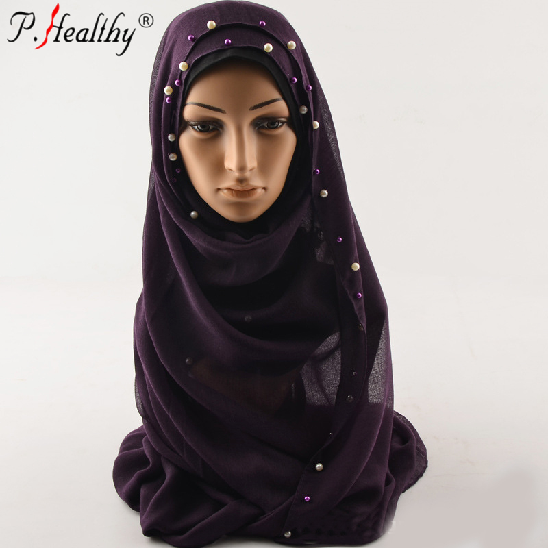Plain viscose hijab with pearl smooth fabric solid color dubai hijab scarf fabric bead muffler