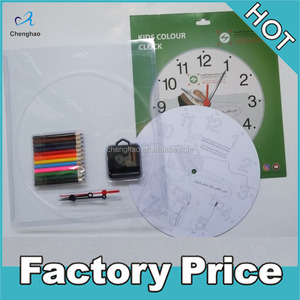 customized cardboard colorfilling kids DIY wall clock for children