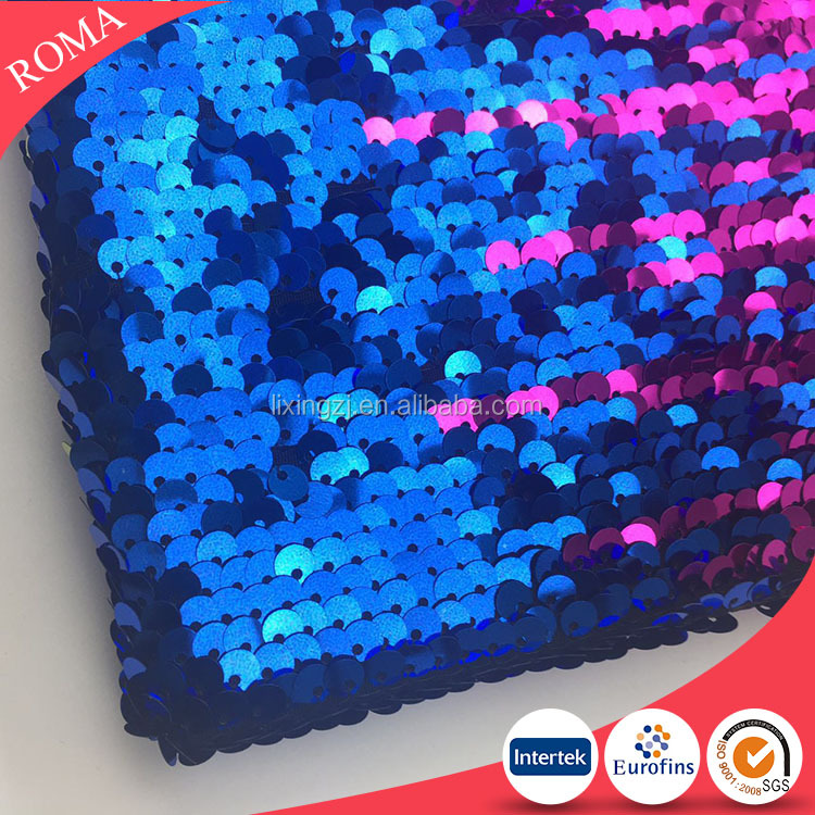 Reversiable sequin fabric 2017 magic blue and fushia