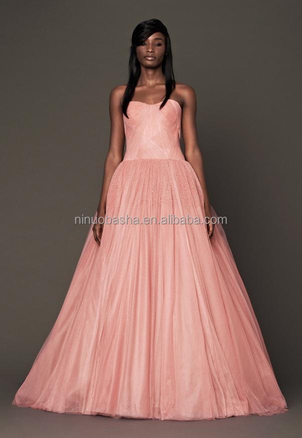Impresionante 2015 largo vestido de boda vestido rosa cariño ...
