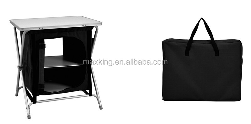 2 shelf Aluminum Folding Table With Cloth Cabinet/Camping cupboard/camping cabinet