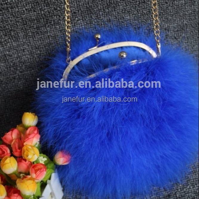 Popular blue cute good design turkey feather handbag with low price