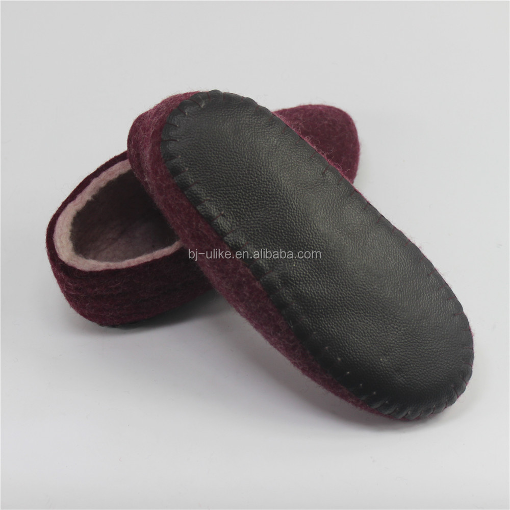 Low price Good quality wool felt indoor adult slipper