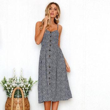 c4f9eea5e91 Women s Dress Summer Bohemian Spaghetti Strap Button Down Swing Floral Midi Maxi  Dress with Pockets