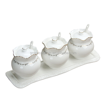 Kitchen Tea Coffee Sugar Canisters 3pcs Ceramic Canister With Spoon