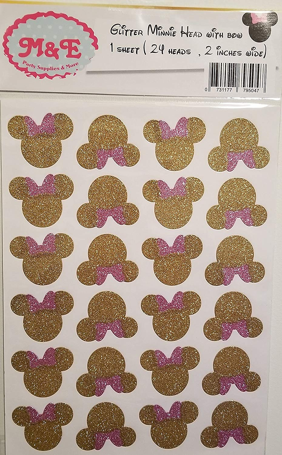 Glitter Gold & Pink Minnie Head and Bow Stickers for Minnie Mouse Birthday Party Decoration, Mickey Or Minnie (1 Sheet)(Total 24 Heads 2 inches Wide Each), Minnie Birthday, (Minnie Head)