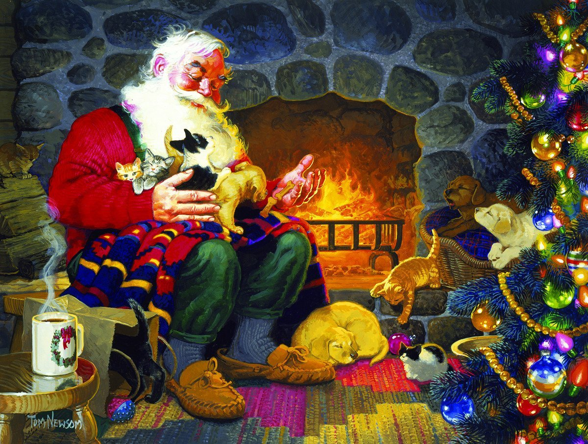 Fireplace Santa 500 Piece Jigsaw Puzzle by SunsOut - Theme: Christmas Santa Claus