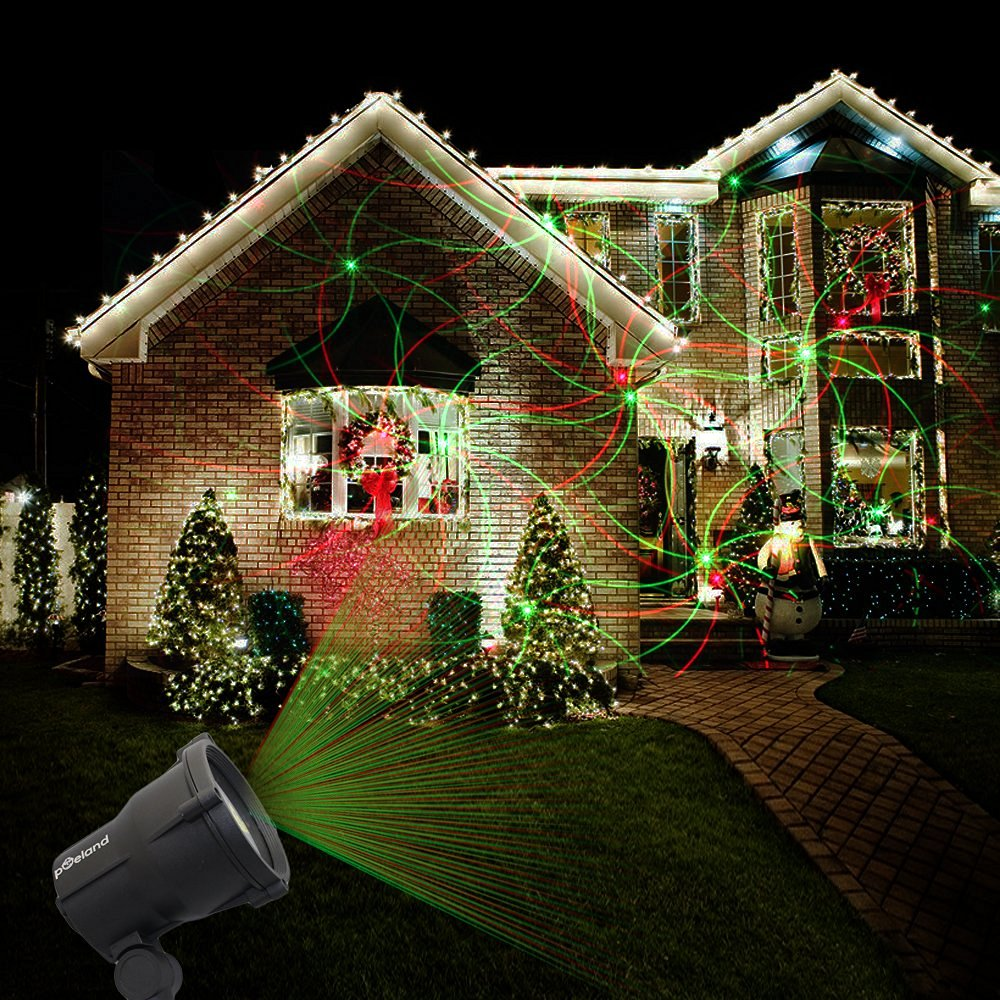 Laser Christmas Lights Halloween Outdoor Projector Waterproof Star Red & Green Laser Lamp