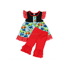 Children Back to School Outfits Wholesale Girls Baby Cotton Back to School Clothing Kids Flutter Shirts and Capri Sets