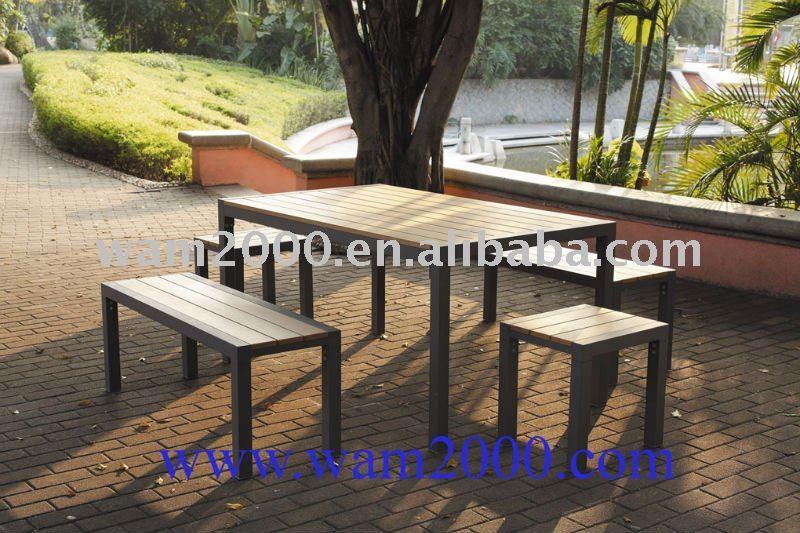 5 Pcs Rectangulaire Poly Table Et Banc En Bois Pour Jardin - Buy ...