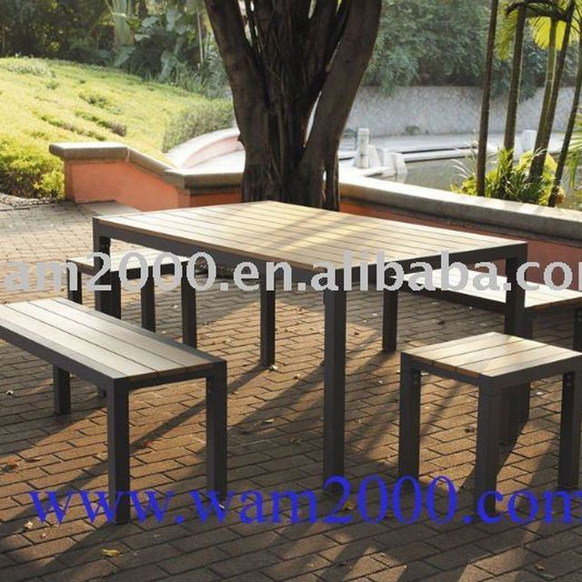 5 pcs Retangular poly wood dining table and bench for garden