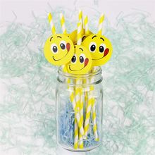 Hot Selling Common Lemon Delectable Expression Insert Card Party Supplies Decorations Straws