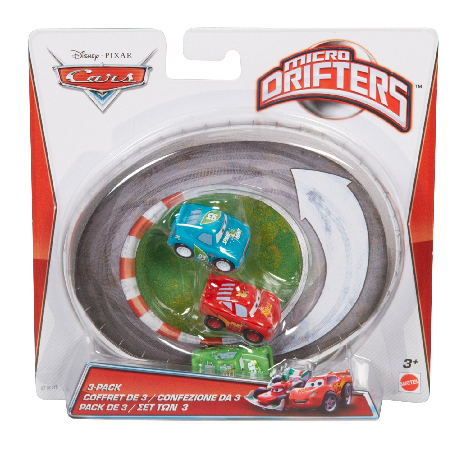 Cars Micro Drifters Chick Hicks, Spare O Mint and Lightning McQueen Vehicle, 3-Pack