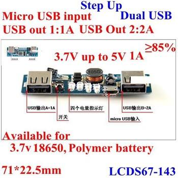 Power Bank Circuit 3 7v To 5v 1a 2a Dc Step Up Converter Board Dual
