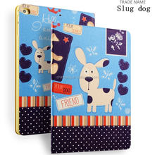 Color Printing Folio Stand PU Leather Case for iPad, Smart Flip Cover Case for iPad2 3 4 (Snot Dog)