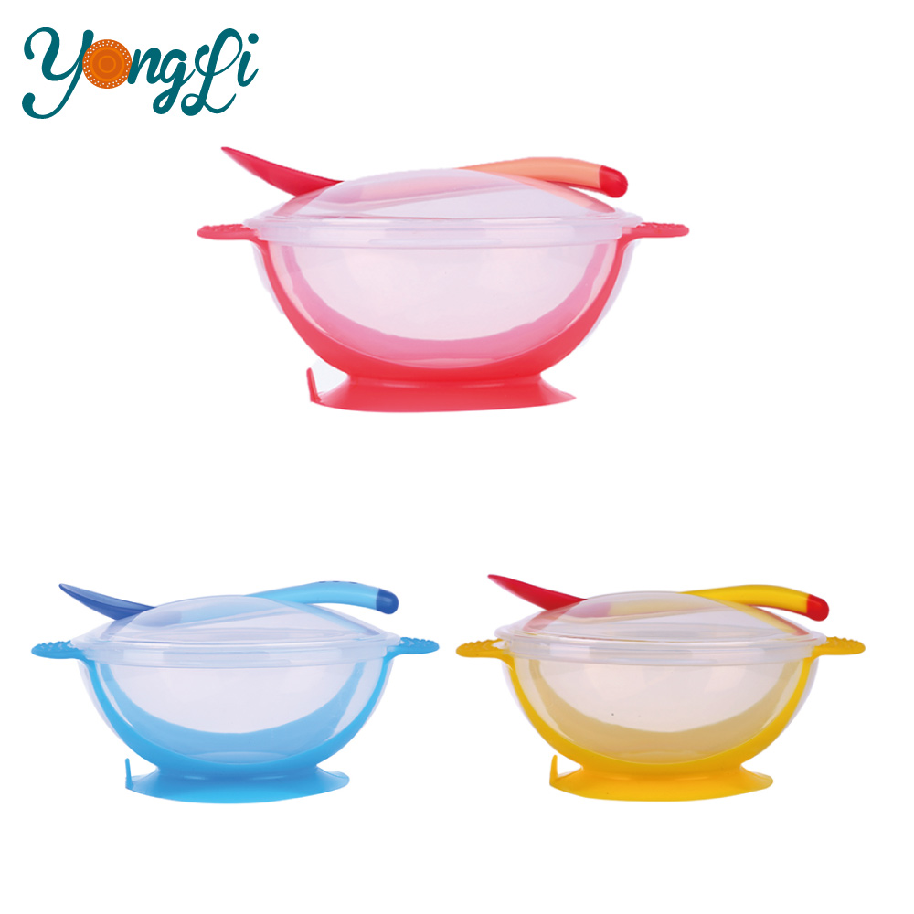 Plastic Baby Bowl/Kids Silicone Suction Feeding Bowl Cutlery Sets with Spoon and Fork