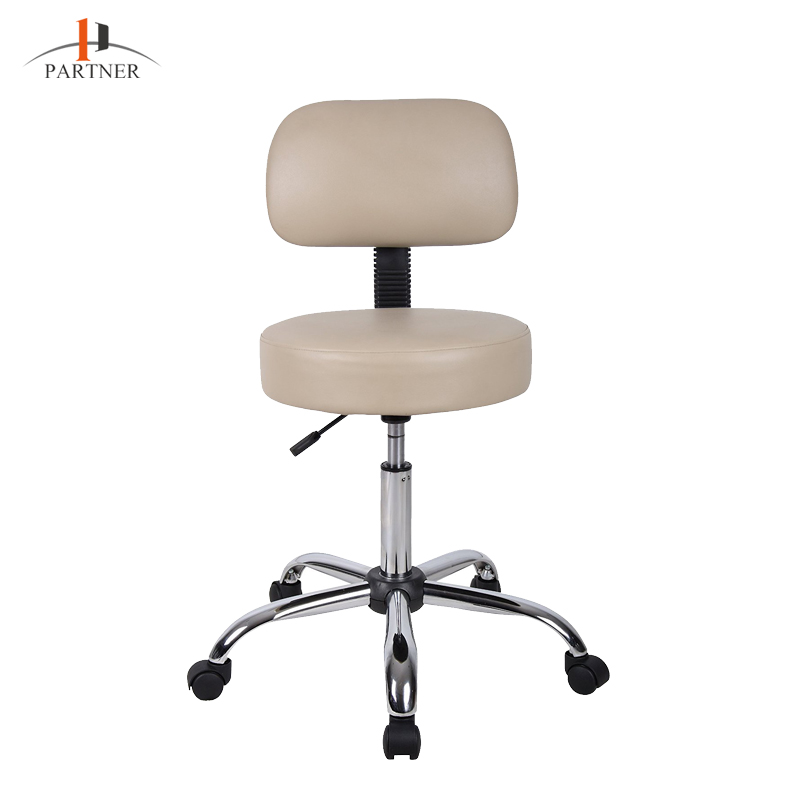 High Quality Commercial Adjustable Beige Low Back Padded Folding Office Swivel Chair with Wheels