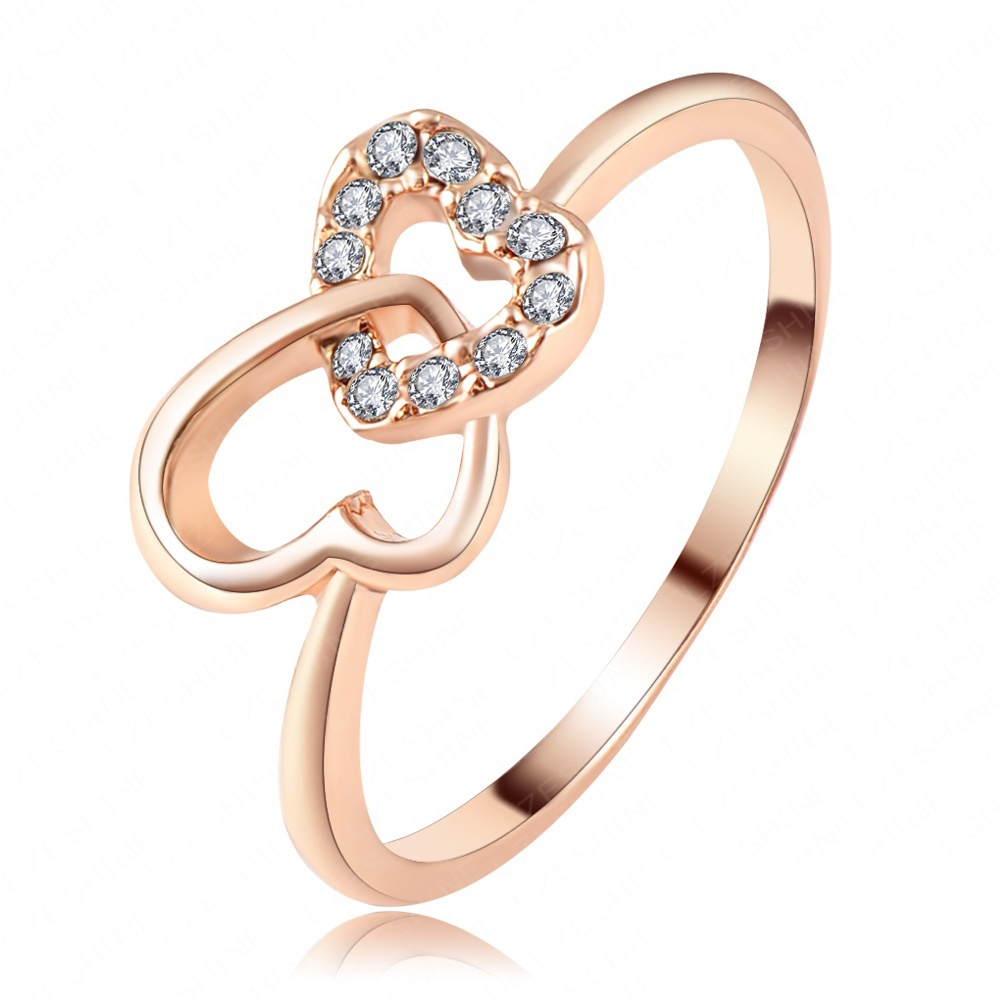 Fashion Brand Beautiful Double Heart Ring Rose Gold ...