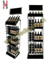 spray painting wine beverage glass bottle display holder / supermarket promotion for wine beverage