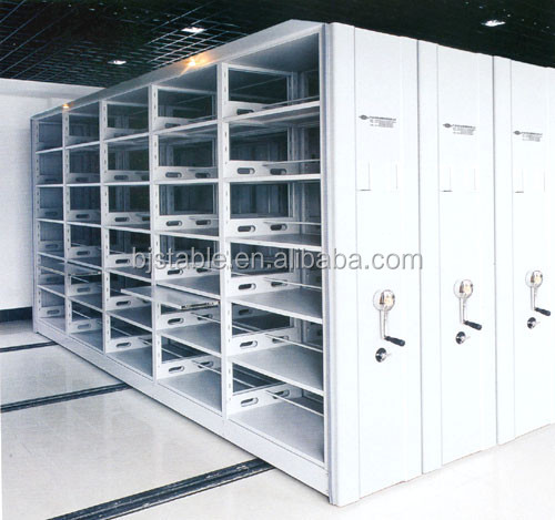 CE ISO9001 Compact Archives Mechanical Mobile Filing Shelving Storage System