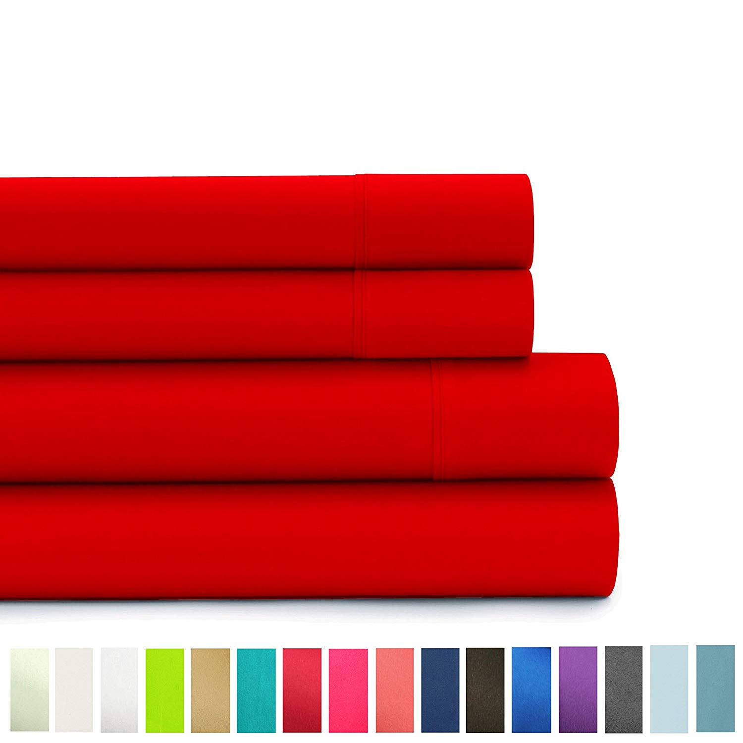 American Home Collection - Deluxe 4 Piece Bed Sheet Sets - Highest Quality of Brushed Microfiber - Wrinkle Resistant Silky Soft Touch (full, Ture Red)