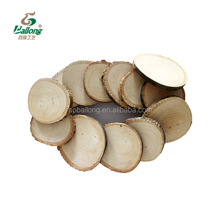 Well polished decorative DIY craft natural wood round slices with bark