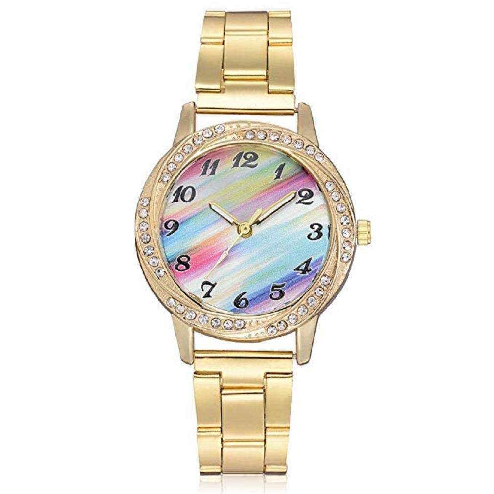 Women's Quartz Watches, Windoson Fashion Ladies Dress Watches Fanmis Luxury Rhinestone Bracelet Quartz Rose Gold Plated Stainless Steel Watch, Elegant Lady Watches Female Watches (Gold)