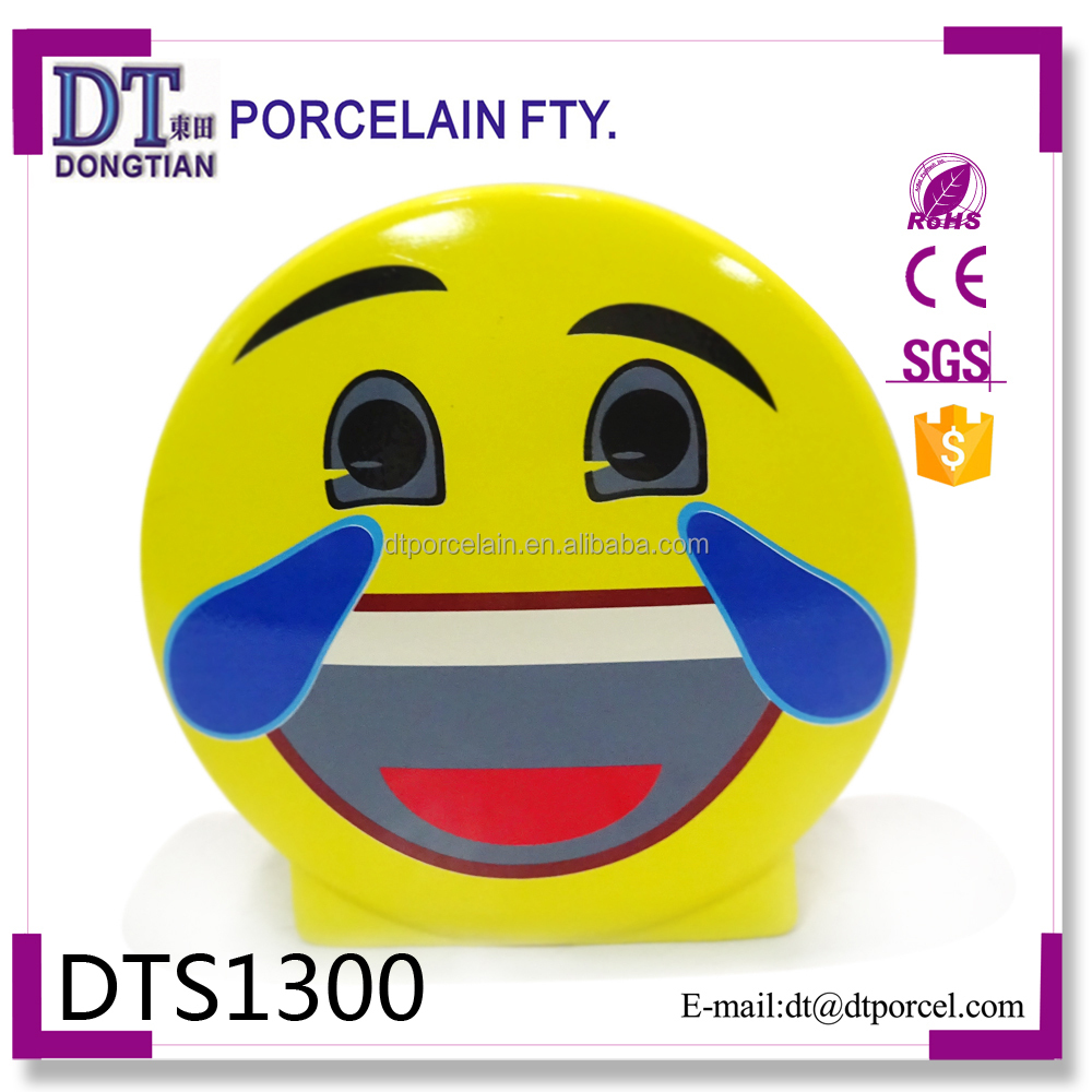 Ceramic cartoon custom cheap smiling face coin bank