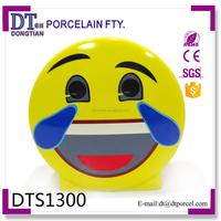 Ceramic cartoon custom cheap smiling face coin bank