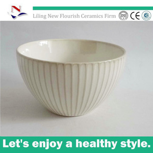 reactive beige ceramic noodle bowl with relief fish scale design for NFA0467