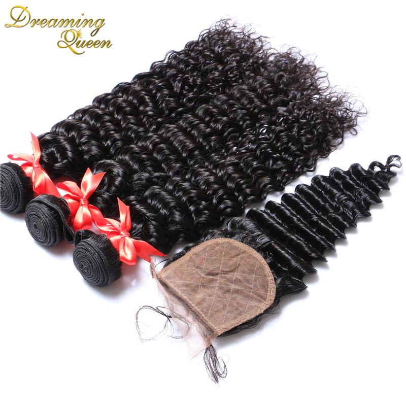Brazilian Deep Wave Virgin Hair With Silk Base Closure Deep Curly Hair Weft With Closure Human