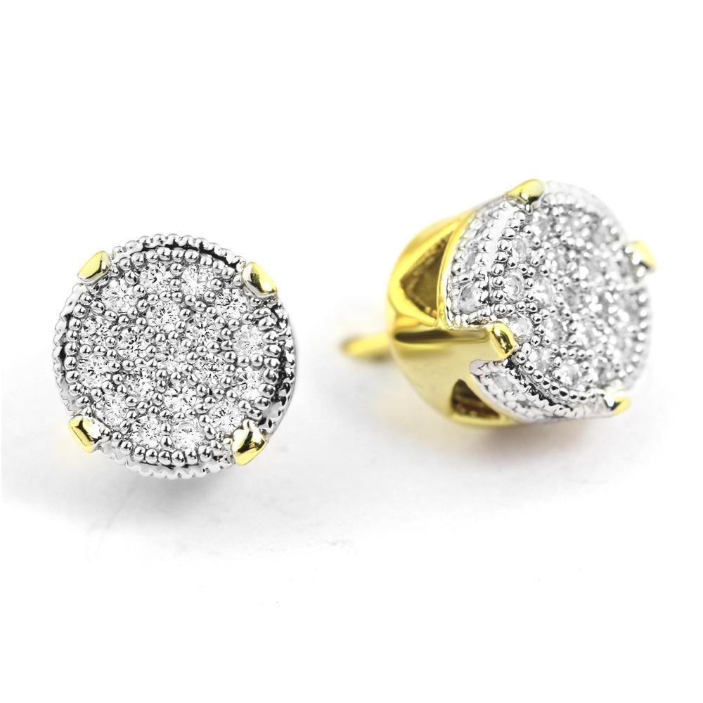 680b5575b579 Helado de los hombres de moda micro allanar 14 K chapado en oro 925 aretes  de