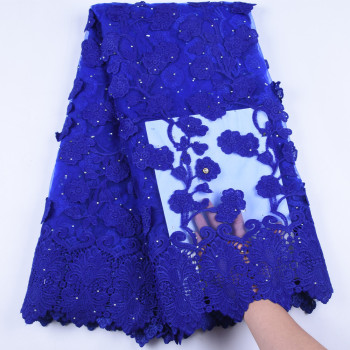 Royal Blue African Tulle Net Lace With Appliques High Quality Nigerian Lace Fabric With Appliques For Party Dress 1628