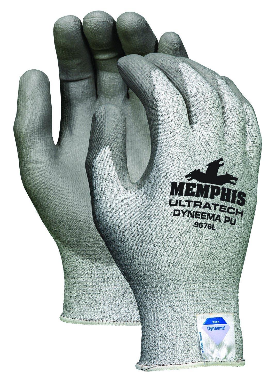 Memphis Glove 9676M UltraTech Dyneema 13-Gauge PU Coating Washable Gloves, Salt and Pepper, Medium 1-pair, 1-Pair