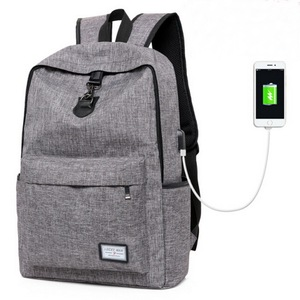 Custom canvas high school bag laptop backpack with usb charger for hiking/traveling