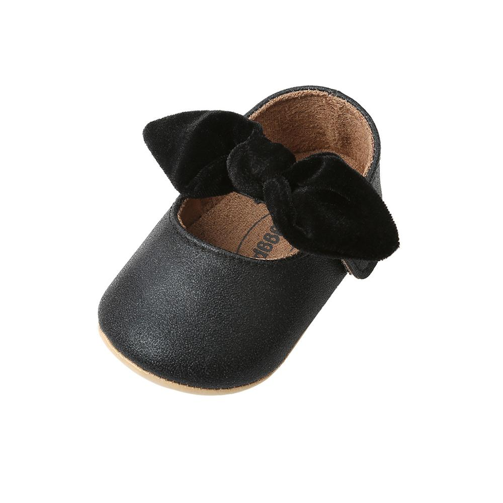 Newborn Baby Girl Crib Shoes PU Leather Tassel Bow Shoe Soft Sole Casual Sneaker